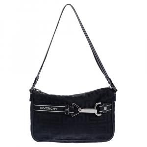 Givenchy Black Monogram Nylon Buckle Clutch Bag