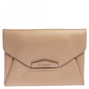 Givenchy Beige Leather Antigona Envelope Clutch