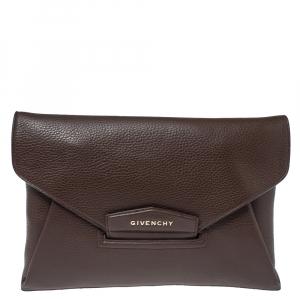 Givenchy Brown Leather Antigona Envelope Clutch