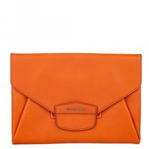 Givenchy Orange Leather Medium Antigona Envelope Clutch Bag