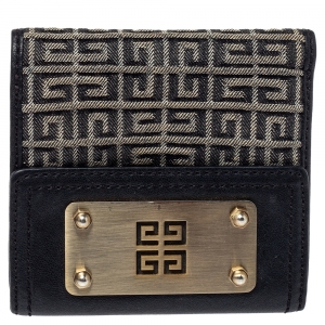 Givenchy Grey/Black Monogram Canvas and Leather Wallet