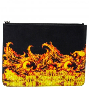 Givenchy Black Fire Printed Leather Clutch
