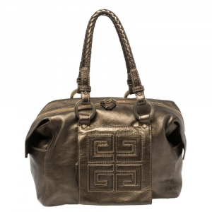 Givenchy Metallic Soft Leather Logo Embossed Braided Handle Satchel