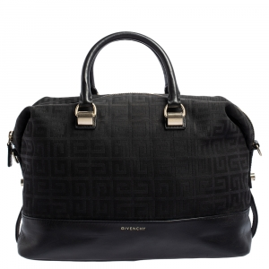 Givenchy Black Monogram Canvas and Leather Zip Satchel