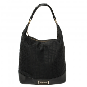Givenchy Black Monogram Canvas and Leather Bucket Hobo