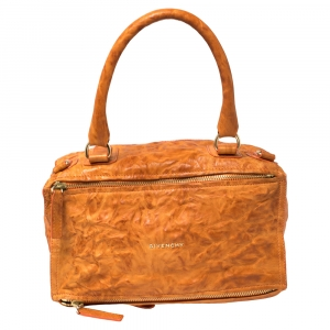 Givenchy Orange Leather Large Pandora Shoulder Bag