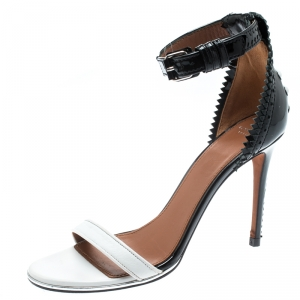 Givenchy Monochrome Leather Ankle Strap Open Toe Sandals Size 37.5 - used