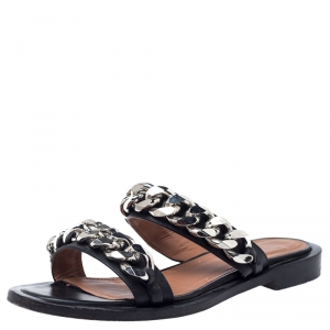 Givenchy Black Leather Chain Trimmed Flat Sandals Size 38 - used