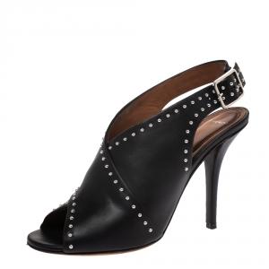 Givenchy Black Studded Leather Peep Toe Slingback Sandals Size 37 - used
