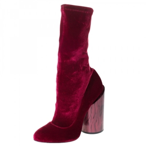 Givenchy Red Velvet Mother Of Pearl Block Heel Mid Calf Boots Size 38 - used
