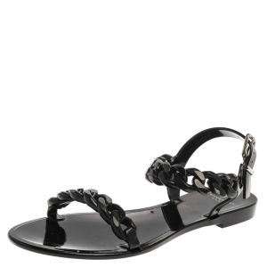 Givenchy Black Jelly Chain Flat Sandals Size 38 - used