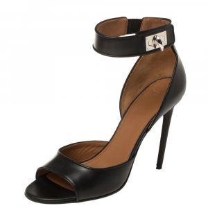 Givenchy Black Leather Shark Tooth Ankle Strap Sandals Size 40 - used
