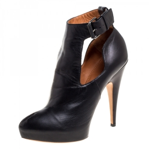 Givenchy Black Leather Peep Toe Platform Ankle Booties Size 39