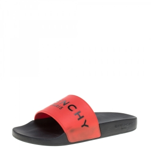Givenchy Red Rubber Logo Flat Slide Sandals Size 38