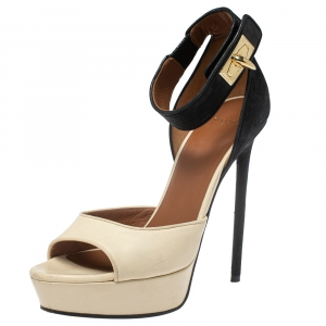 Givenchy Two Tone Leather And Suede Leather Sharlock Sandals Size 37 - used