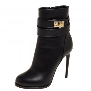 Givenchy Black Leather Shark Lock High Heel Ankle Boots Size 36 - used