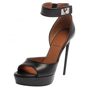 Givenchy Black Leather Shark Tooth Ankle Strap Open Toe Platform Sandals Size 39 - used