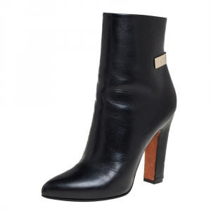 Givenchy Black Leather Gold Detailing Ankle Boots Size 39.5 - used