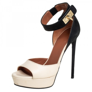 Givenchy Beige/Black Leather And Nubuck Leather Shark Lock Platform Ankle Cuff Sandals Size 36 - used