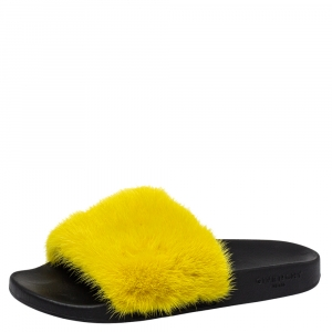 Givenchy Yellow Mink Fur Flat Slides Size 41 - used