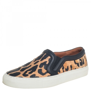 Givenchy Two Tone Leopard Print Leather Slip On Sneakers Size 36