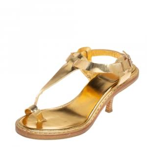 Givenchy Vintage Metallic Gold Leather Thong Slingback Sandals Size 39.5 - used