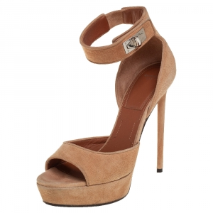 Givenchy Beige Suede Shark Tooth Ankle Strap Open Toe Platform Sandals Size 38 - used