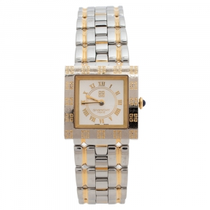 Givenchy Silver White Two Tone Stainless Steel Apsaras REG.1.558.962 Women's Wristwatch 23 mm