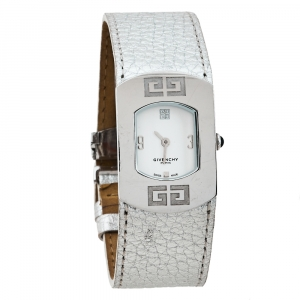 Givenchy White Stainless Steel Silver Leather Expression 2 92438731 Quartz Women's Wristwatch 29 MM