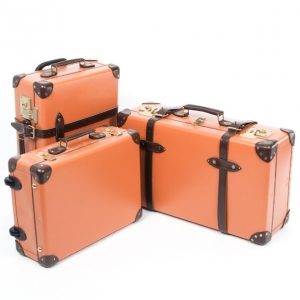 Globe-Trotter Orange 3 Piece Luggage Set