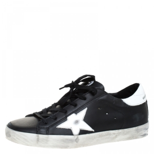 Golden Goose Black Leather Superstar Lace Up Sneakers Size 39