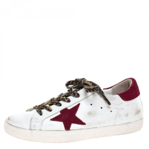 Golden Goose Grey White/Burgundy Leather And Suede Superstar Lace Up Sneakers Size 38