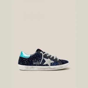 Golden Goose Deluxe Brand Blue Midnight Blue Navy Velvet Turquoise Tab Superstar Size IT 36