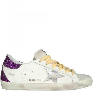 Golden Goose White Glitter Superstar Sneakers Size IT 39