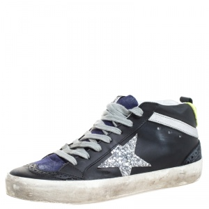 Golden Goose Black/Blue Leather And Suede Star Applique Low Top Sneakers Size 36
