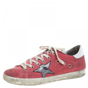 Golden Goose Pink Denim And Metallic Silver Star Applique Low Top Sneakers Size 39