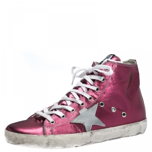 Golden Goose Pink Foil Fabric And Silver Star Leather Francy Sneaker Size 39