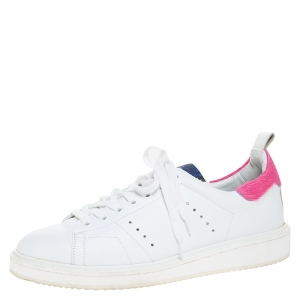 Golden Goose White/Pink Leather and Calfhair Trim Tennis Low Top Sneakers Size 39