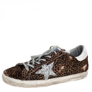 Golden Goose Brown Leopard Print Calfhair and Leather Superstar Low Top Sneakers Size 39