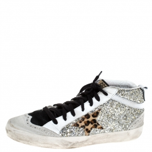 Golden Goose Silver/Black Glitter Star Mid High Sneakers Size 39