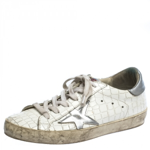 Golden Goose White/Grey Croc Embossed Leather Superstar Low Top Sneakers Size 36
