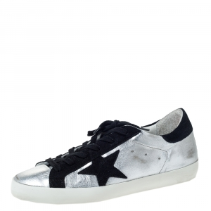 Golden Goose Silver Leather And Black Suede Distressed Star Low Top Sneakers Size 39