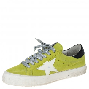 Golden Goose Yellow Suede Leather Superstar Lace Up Sneakers Size 37
