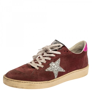 Golden Goose Burgundy Suede Leather And Glitter Ball Star Lace Up Sneakers Size 40