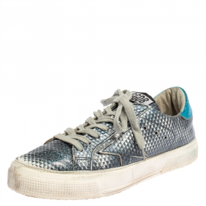 Golden Goose Metallic Blue Snake Embossed Leather Sneakers Size 37