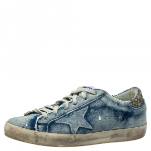 Golden Goose Denim Superstar Low Top Sneakers Size 37