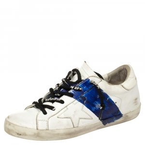 Golden Goose White Leather Superstar Paint Sneakers Size 38