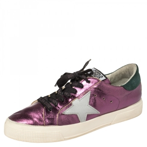Golden Goose Metallic Purple Leather May Low Top Sneakers Size 38
