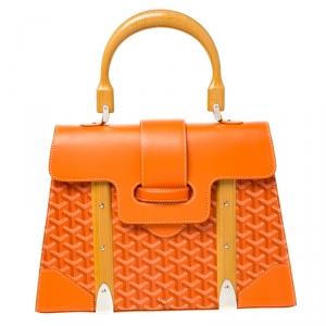 حقيبة جويارد أم أم سايجون يد علوية كانفاس مقوى و جلد برتقالي