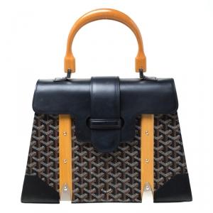 حقيبة جويارد يد علوية سيغون جلد وكانفاس مقوى سوداء/ بنية